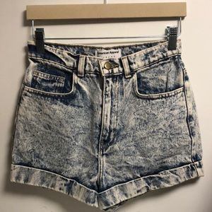 American Apparel Acid Wash High-Waisted Shorts